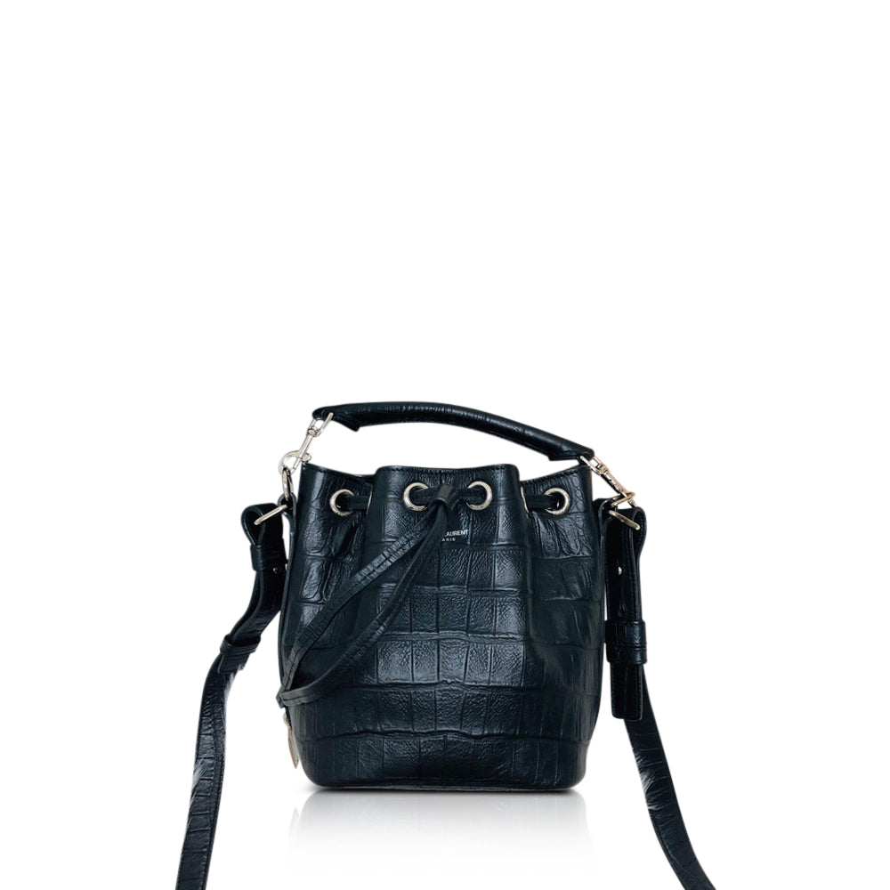 Crocodile Embossed Calfskin Leather Emmanuelle Bucket Bag Medium Black