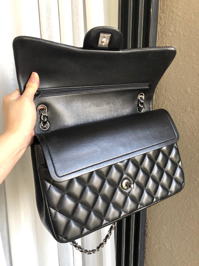 Jumbo Double Flap in Black Lambskin with SHW - Bag Religion