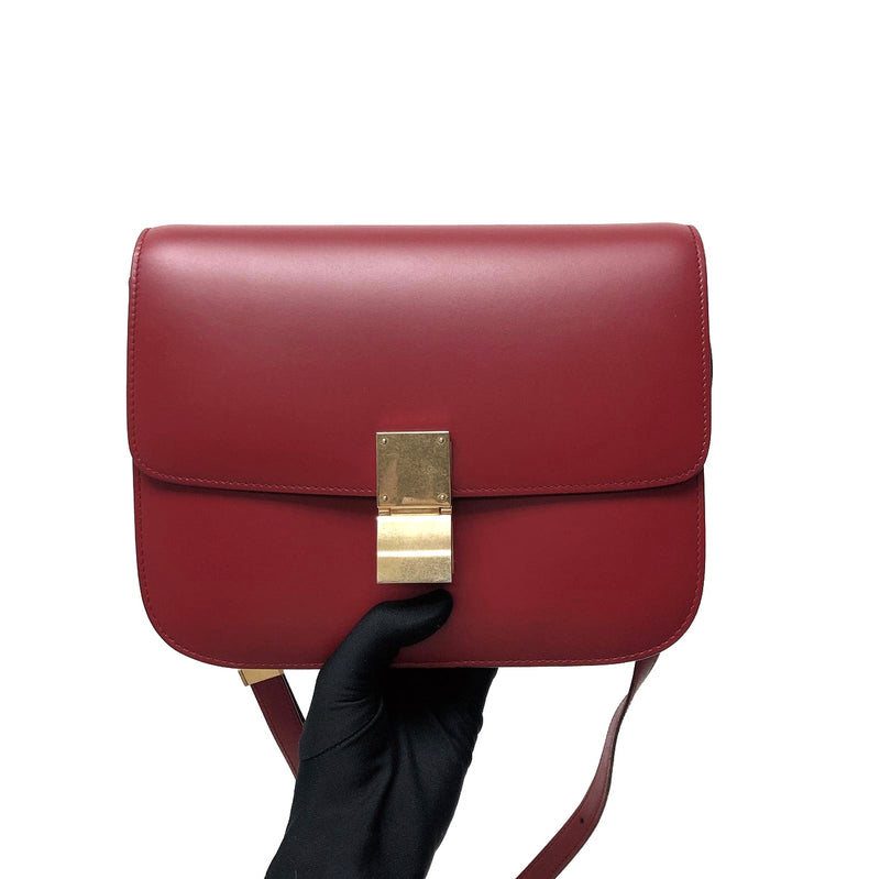 Box Calfskin Medium Classic Box Flap Red with GHW
