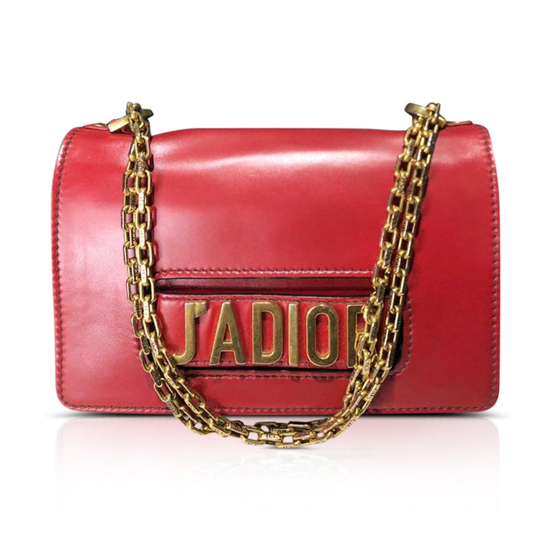 J'Adior Flap Bag with Chain in Red - Bag Religion