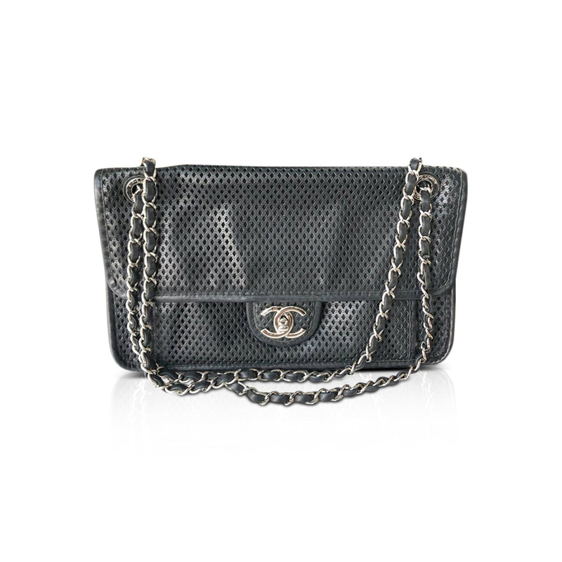 Perforated Medium Flap Bag in black with SHW - Bag Religion