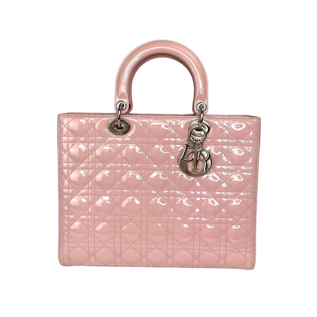 Lady Dior Large Patent Quilted in Pink with SHW
