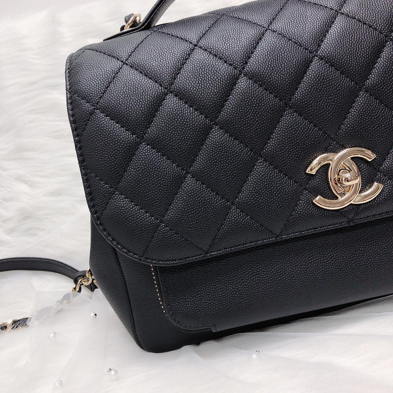Business Affinity Flap Black Quilted Caviar Leather with GHW Large - Bag Religion