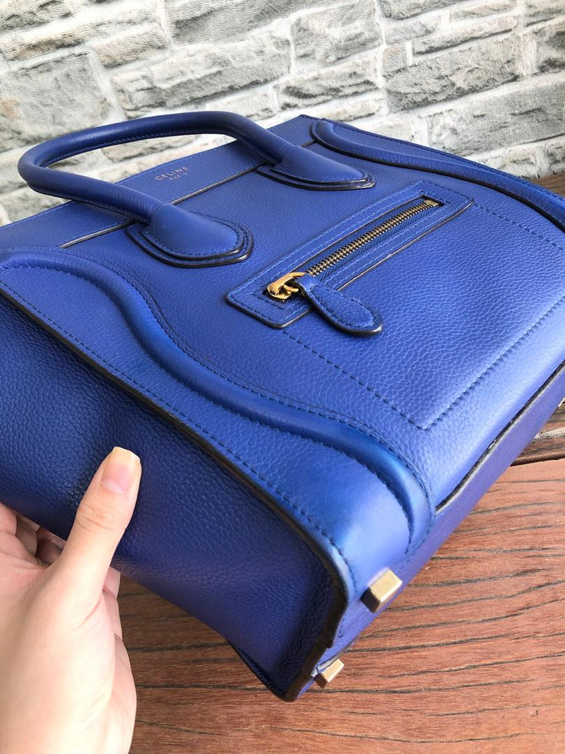 Mini Luggage in Electric Blue Palmelato Leather Tote with Gold-Tone Hardware