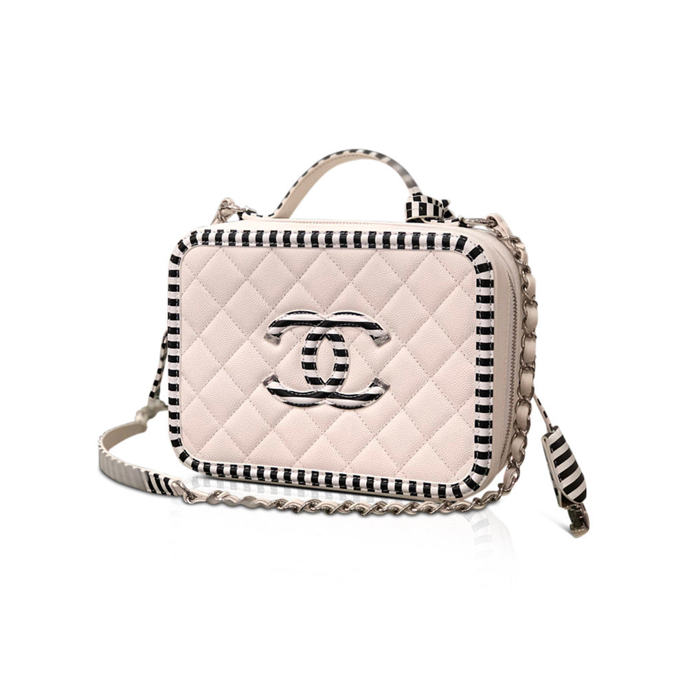 Black and White Striped CC Filigree Medium Caviar Quilted Vanity Case - Bag Religion