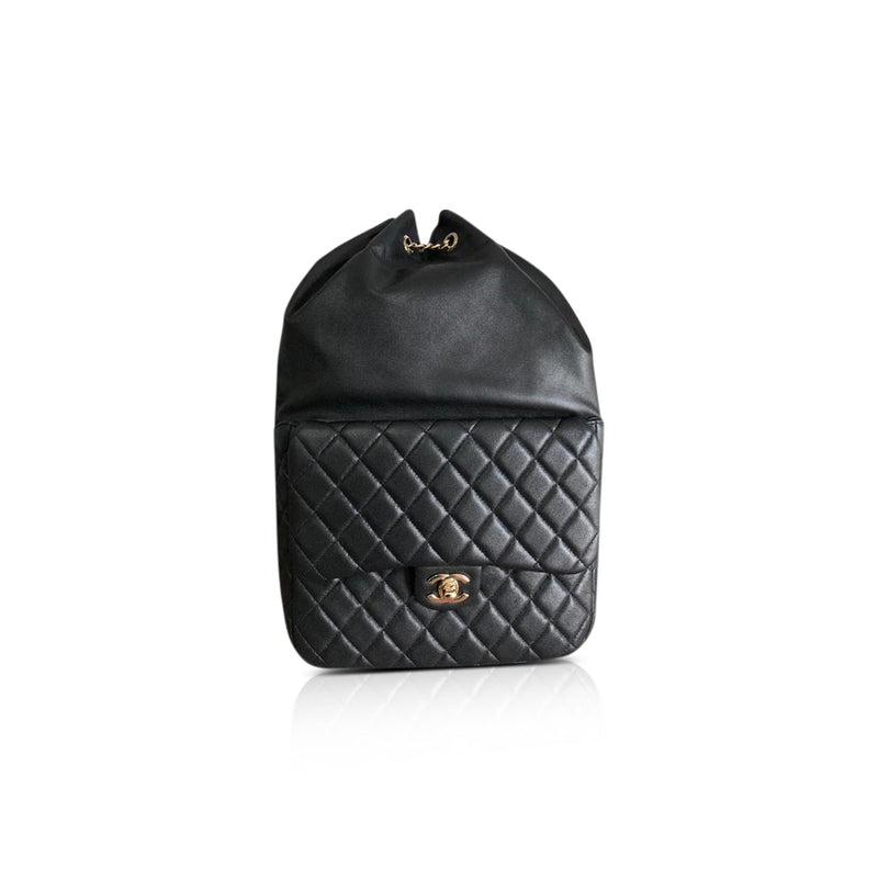 Black Quilted Lambskin Large Seoul Backpack