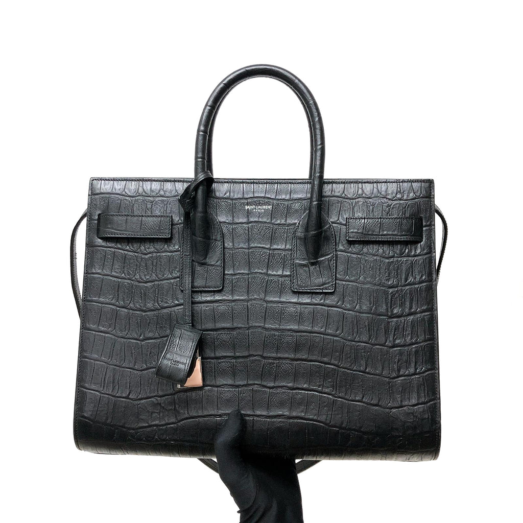 Small Sac De Jour in Crocodile-Embossed Leather Black