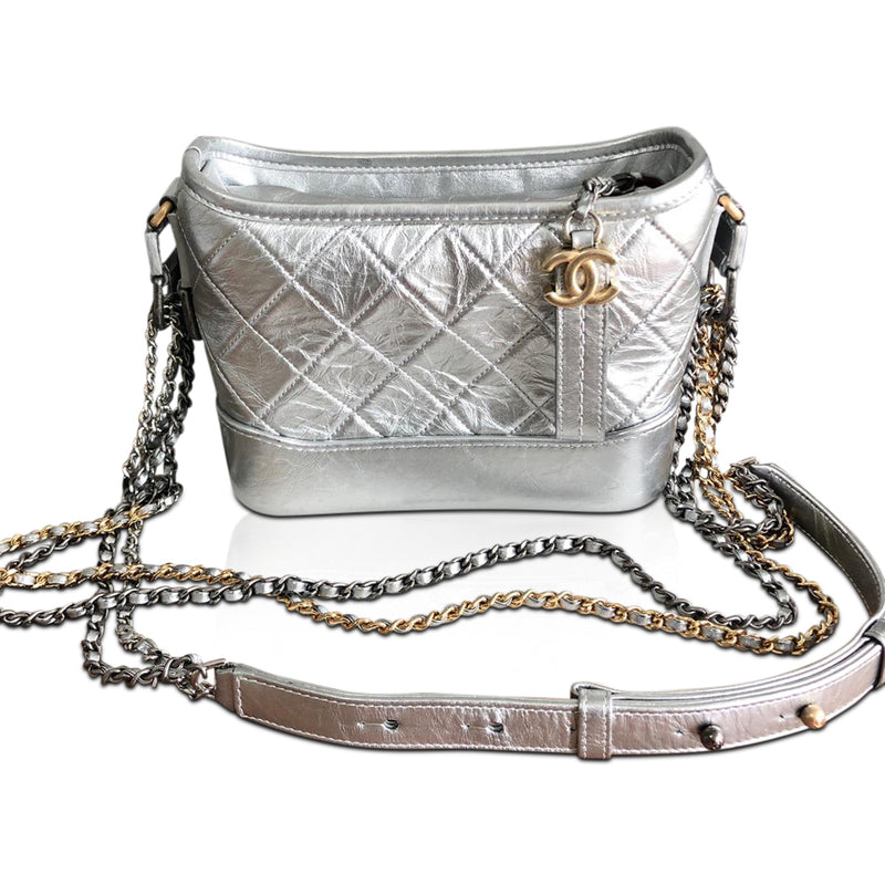 Silver Metallic Quilted Aged Calfskin Small Gabrielle Hobo Bag
