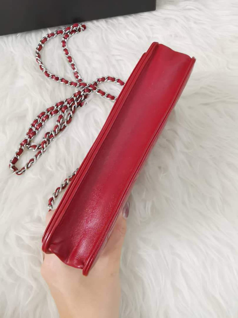 Camellia Embossed WOC Clutch Chain Bag in Red Lambskin with SHW