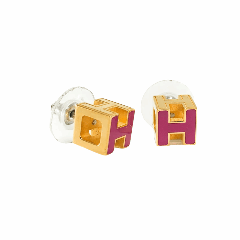 'H' Earrings gold with pink enamel