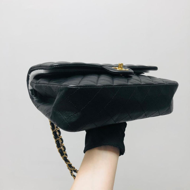 Classic Double Flap Black M/L Lambskin Bag with GHW