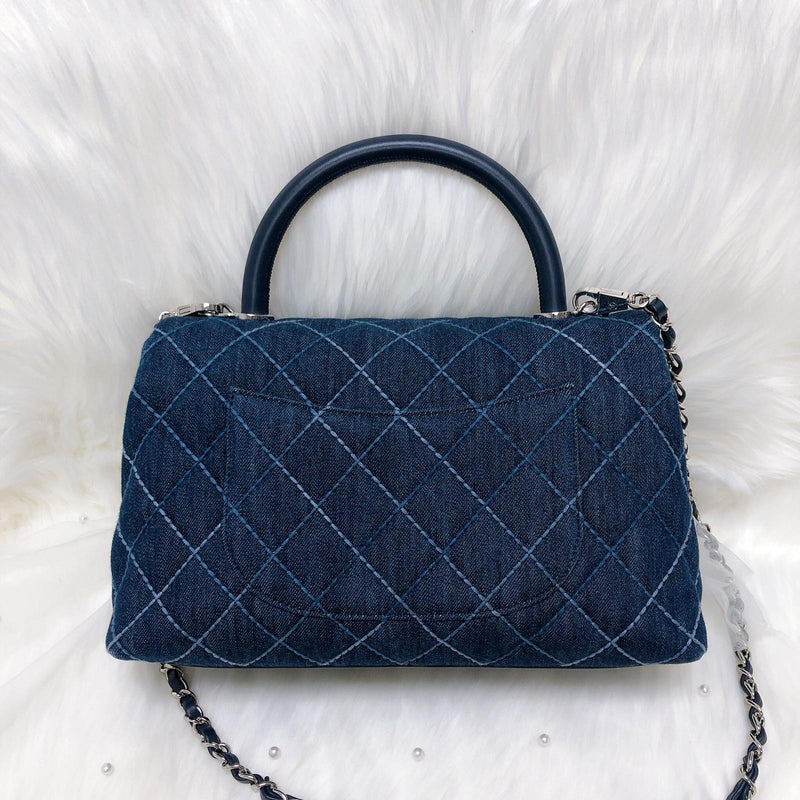 Blue Denim Quilted Medium Coco Handle Flap