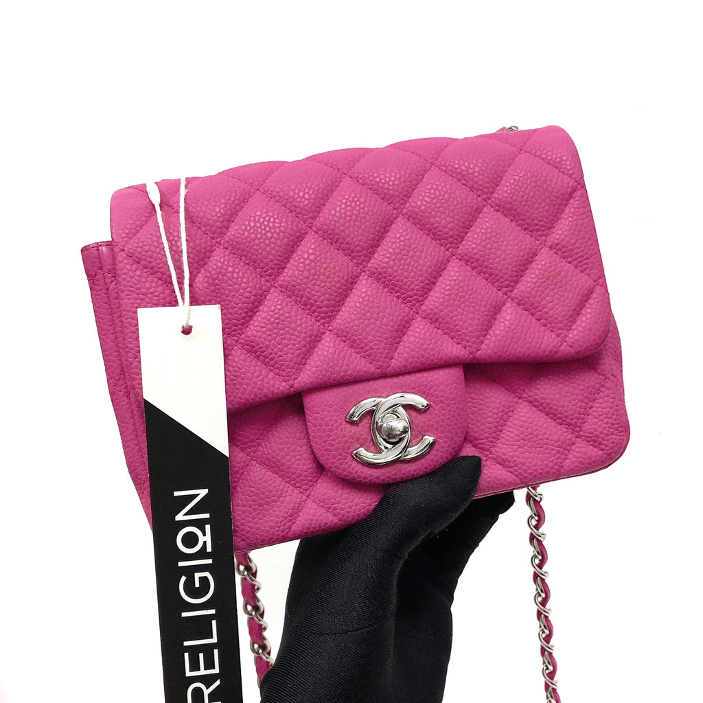 Square Mini Flap Bag Quilted Caviar Leather with SHW Hot Pink