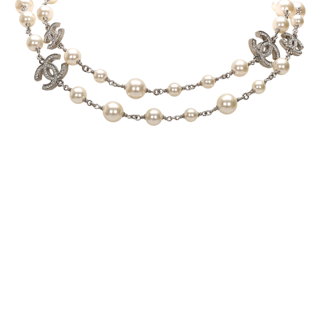 CC Crystal Faux Pearl Long Necklace