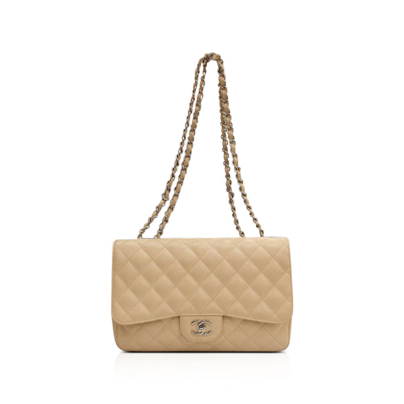 New Single Flap Caviar Jumbo in Light Beige Silver Hardware - Bag Religion