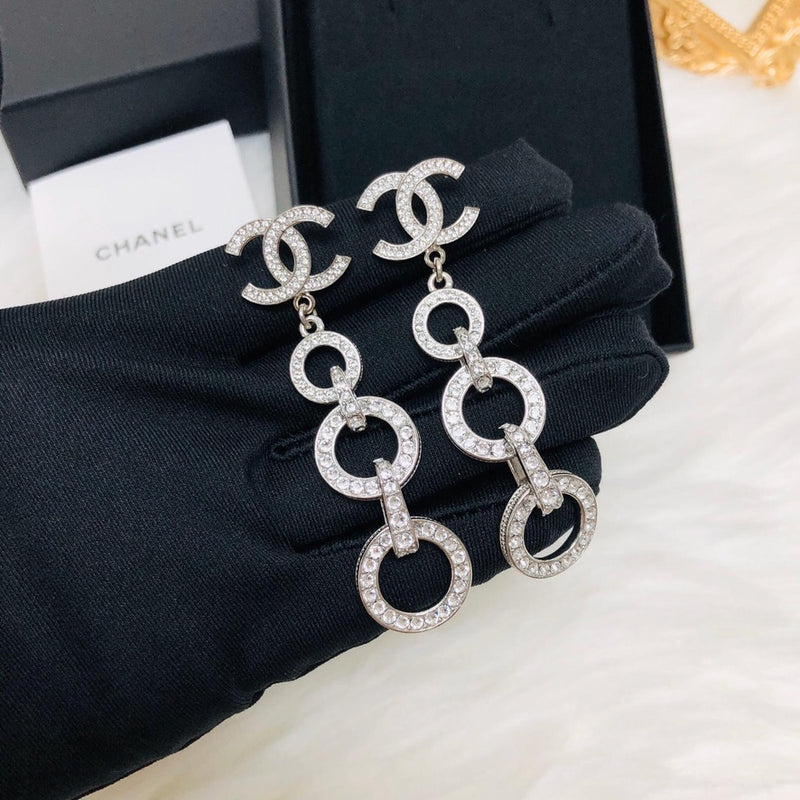 CC Dangle Earrings in Black 2020 SS