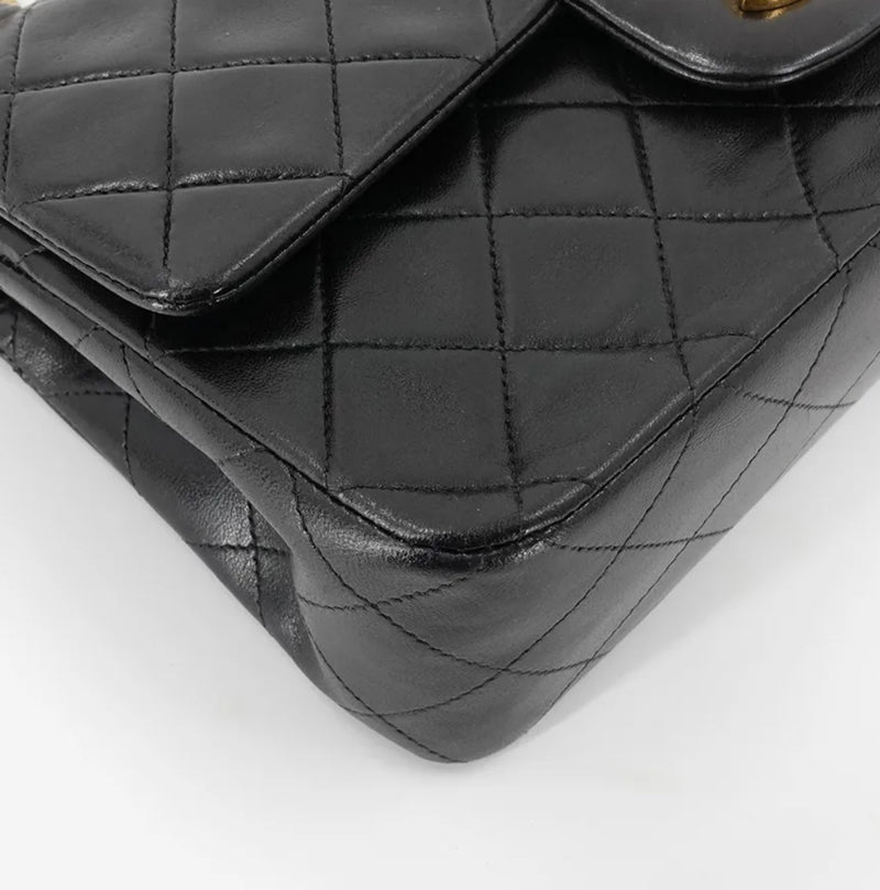 Vintage Classic Small Double Flap Bag in Black