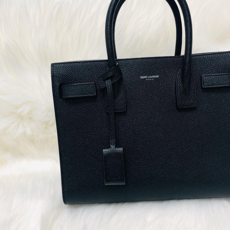 Baby Sac De Jour in Black Grained Leather