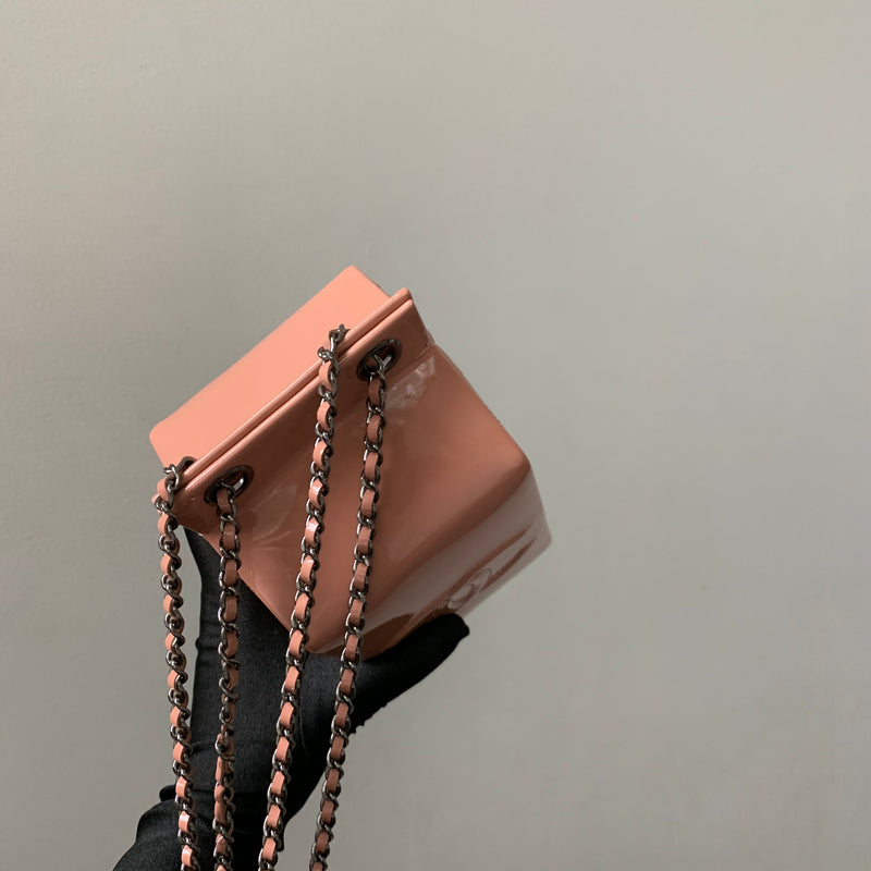Rare CC Milk Carton Patent Chain Crossbody Bag in Pink