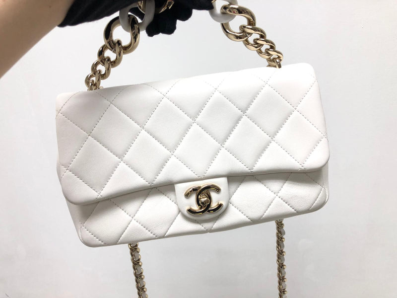 Medium Flap in White Quilted Lambskin Leather with Resin Bi-Colour Chain