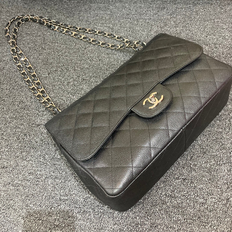 Jumbo Classic Flap Black Caviar Leather with SHW - Bag Religion