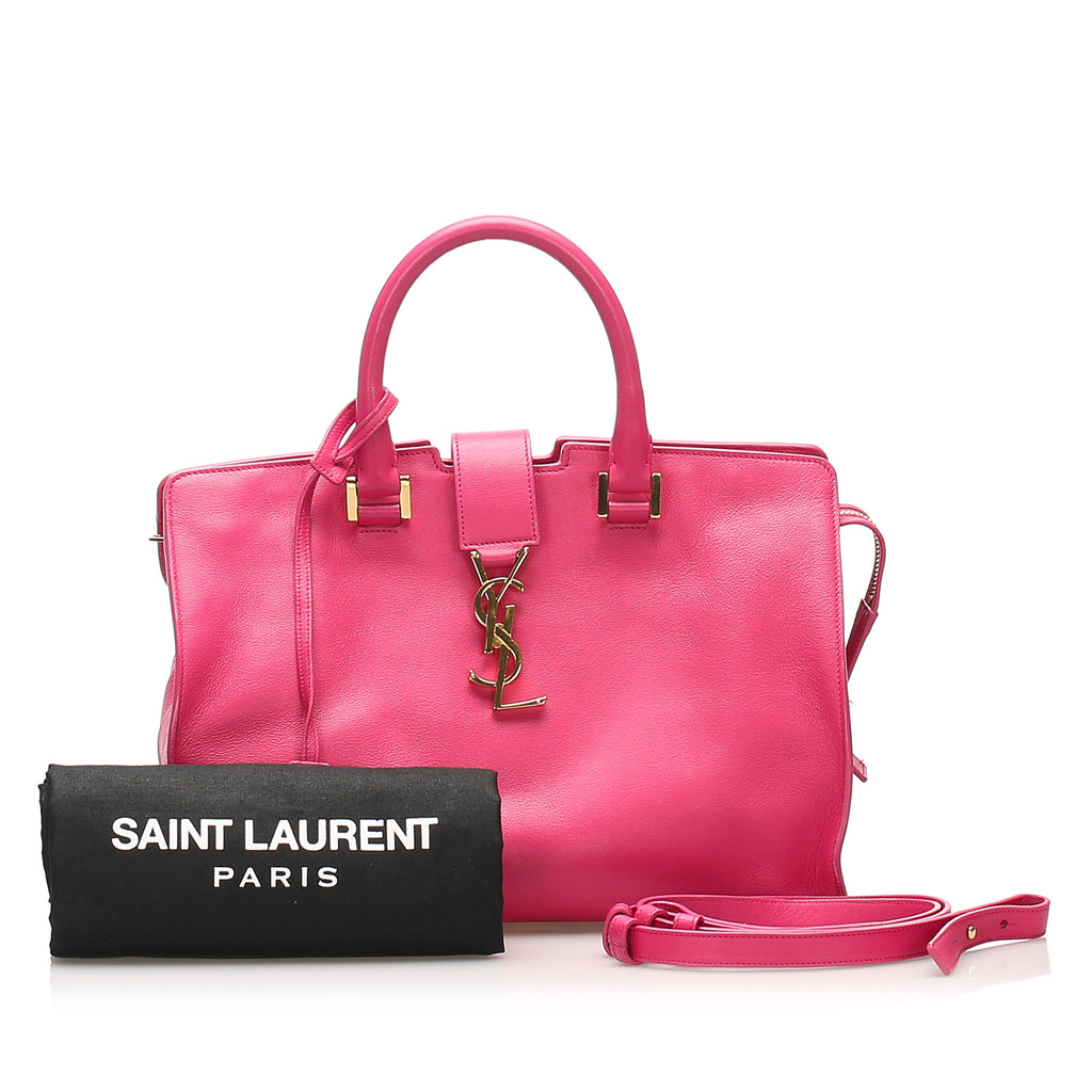 Pink YSL Monogram Cabas Leather Satchel