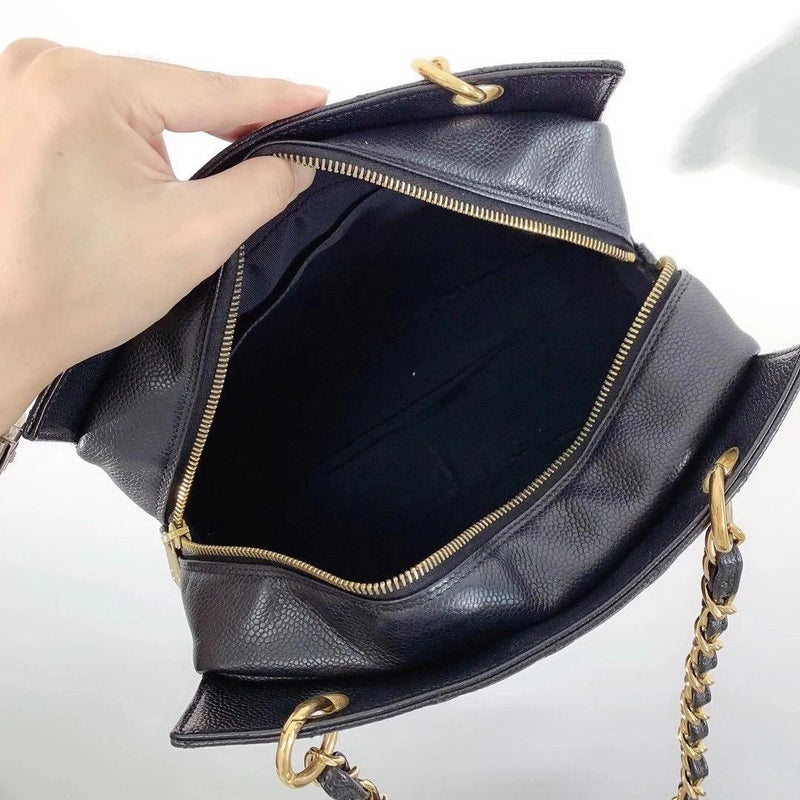 Petite Timeless tote in Black Caviar with GHW