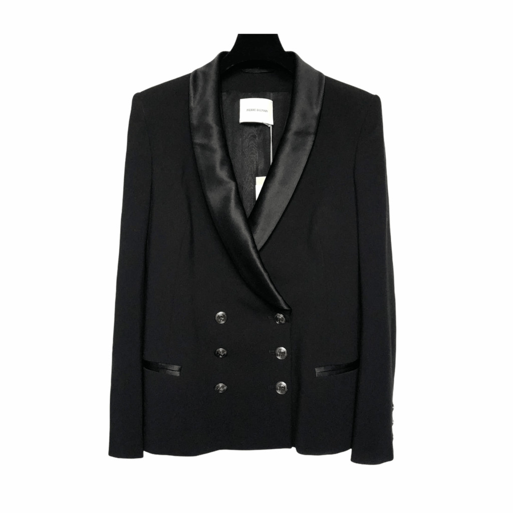 Black Double Breasted Blazer with Silk Lapel