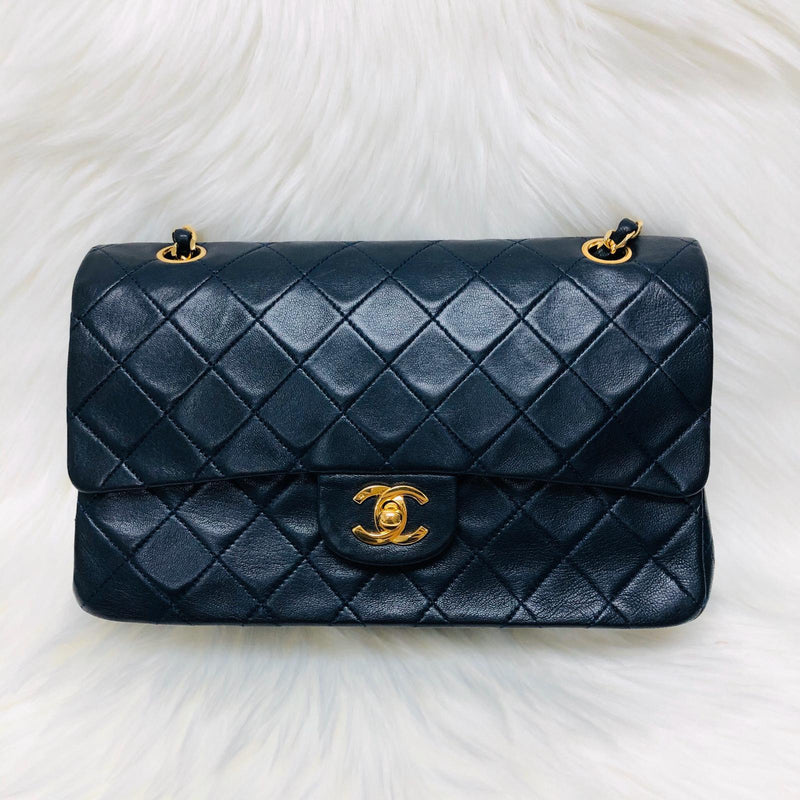 Vintage Lambskin Double Flap 25CM with GHW Dark Blue - Bag Religion