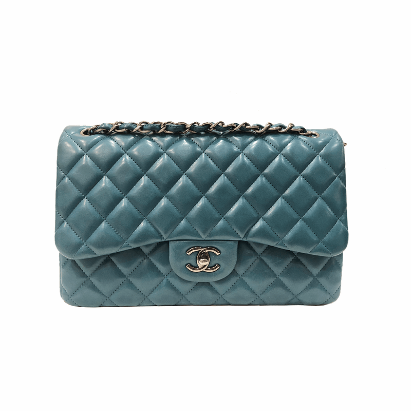 Jumbo Double Flap in Teal Lambskin with RHW - Bag Religion