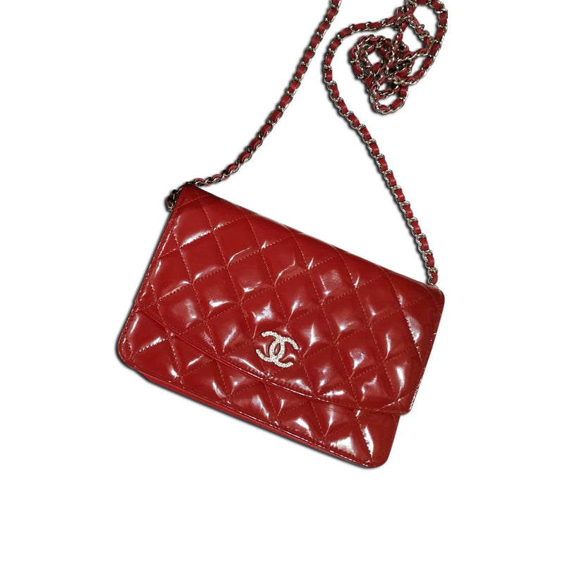 Red Patent Leather Quilted Flap WOC with SHW - Bag Religion