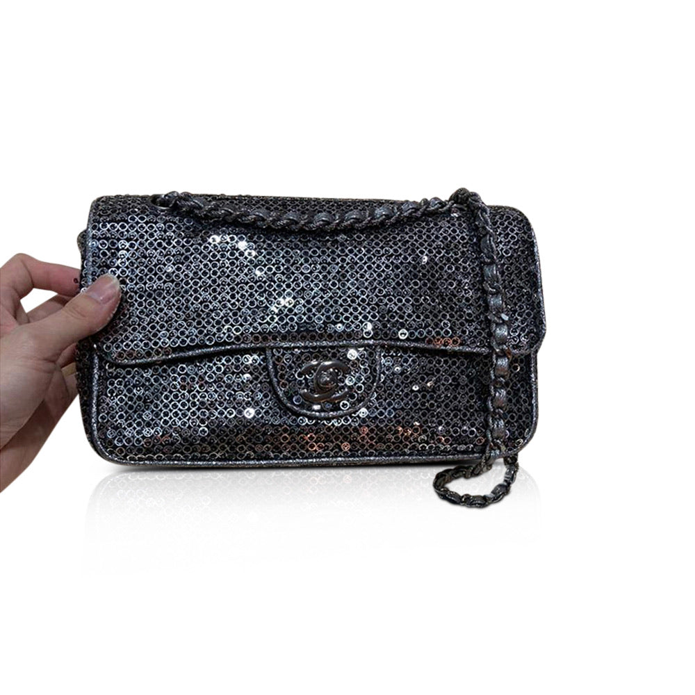 Medium Sequin Flap Bag Grey - Bag Religion