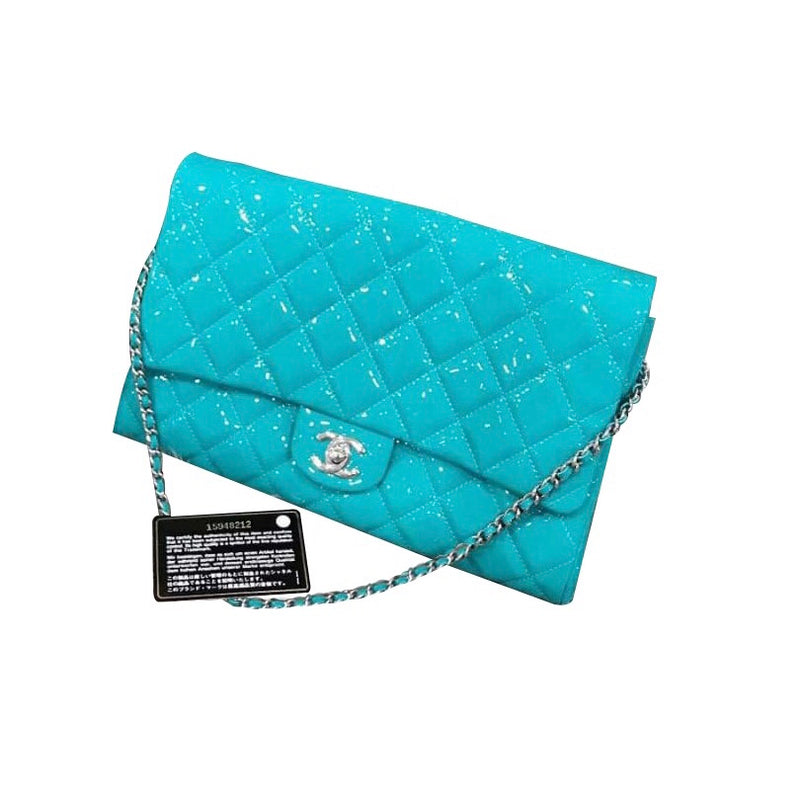 Classic Clutch Patent Turquoise Blue with SHW - Bag Religion
