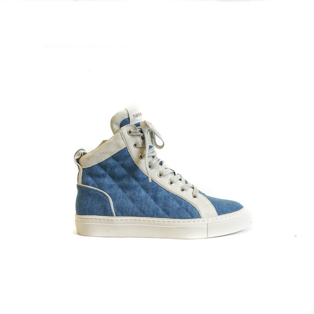 High Top Sneakers with Side Zipper in Denim and Cream - Bag Religion