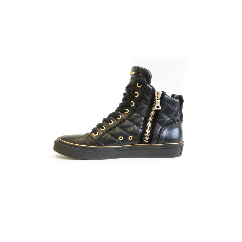 Black and Gold High Top Sneakers with Side Zipper - Bag Religion