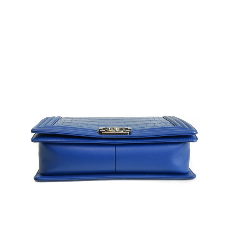 Medium Boy Bag in Blue Crocodile Leather - Bag Religion