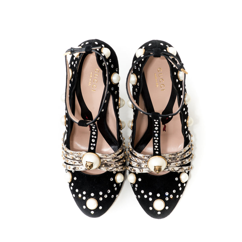 Ofelia Embellished Suede and Snakeskin Pumps - Bag Religion