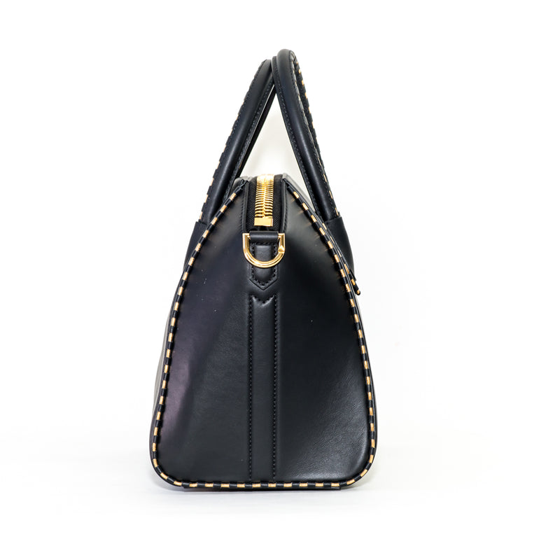 Small Antigona in Black Leather with Gold Hardware - Bag Religion