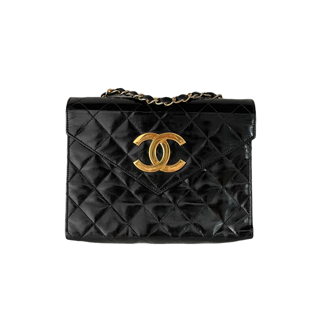 Quilted Patent Leather Envelope Flap Black