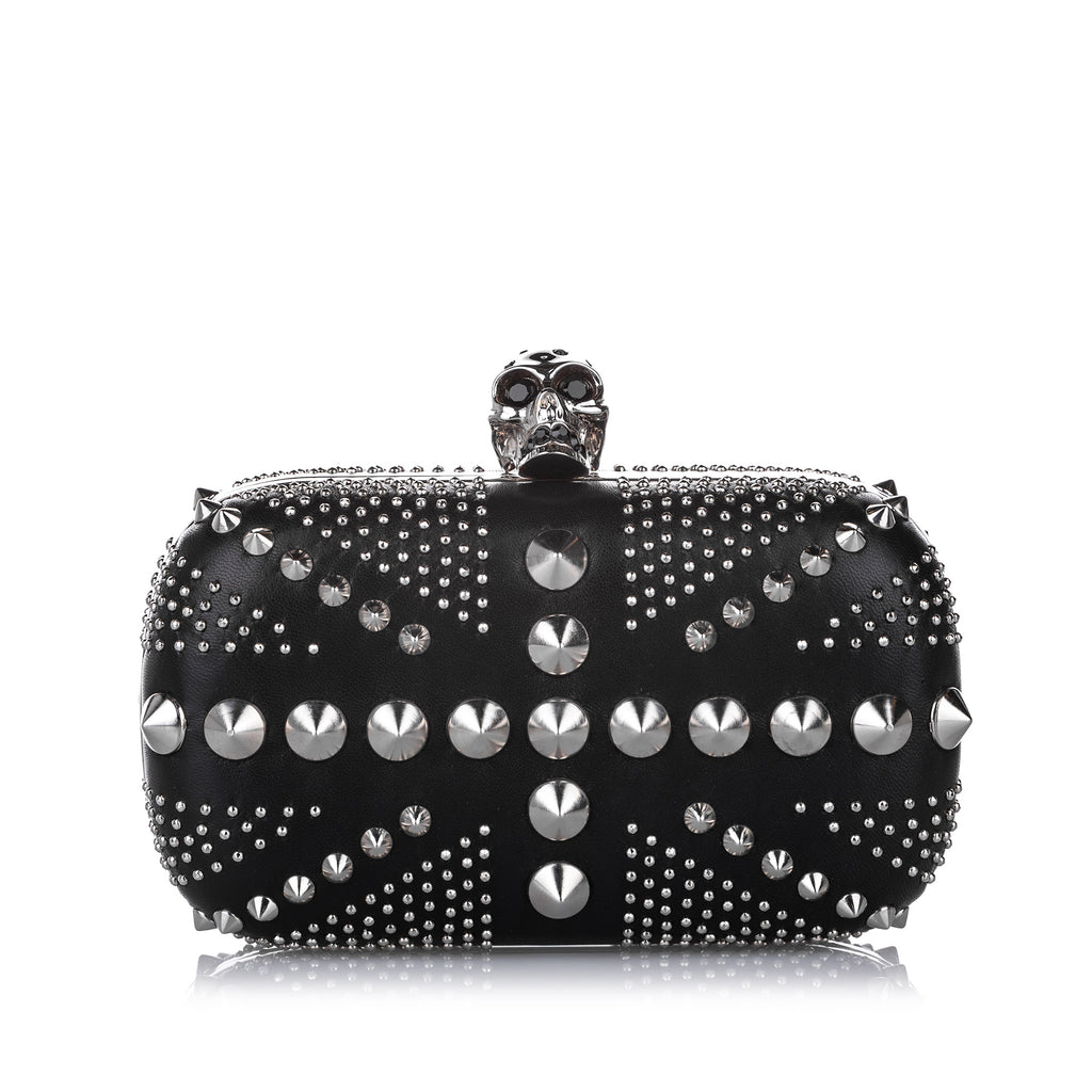 Studded Britannia Skull Leather Clutch Bag Black - Bag Religion