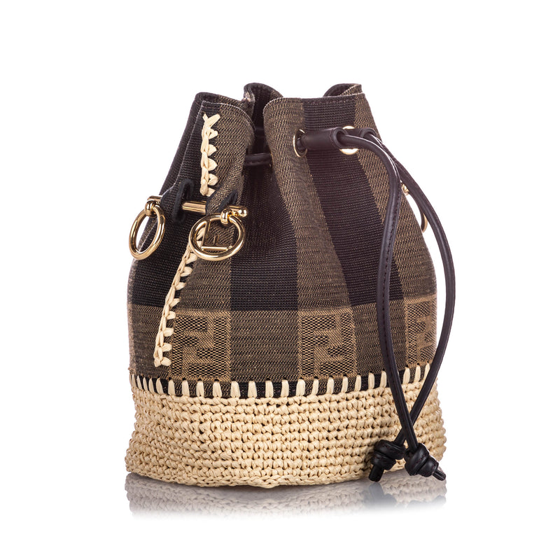 Mini Pequin Mon Tresor Canvas Bucket Bag Brown - Bag Religion