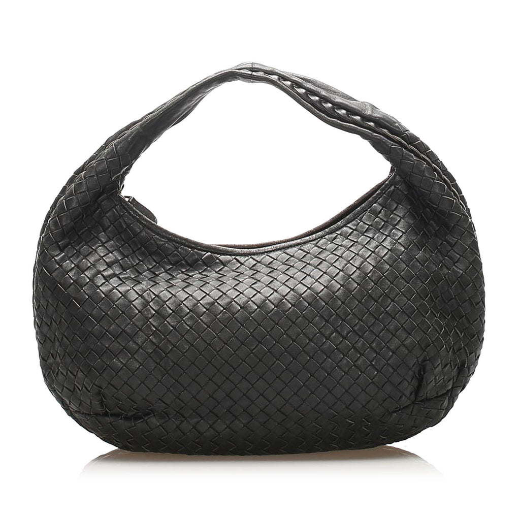 Intrecciato Leather Hobo Bag Black - Bag Religion