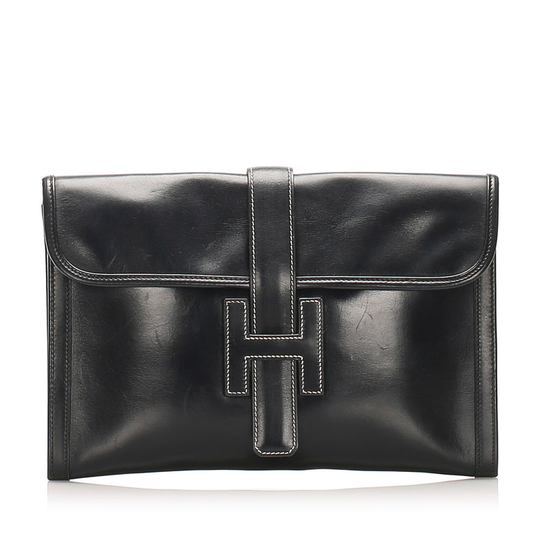 Black Jige GM Leather Clutch Bag