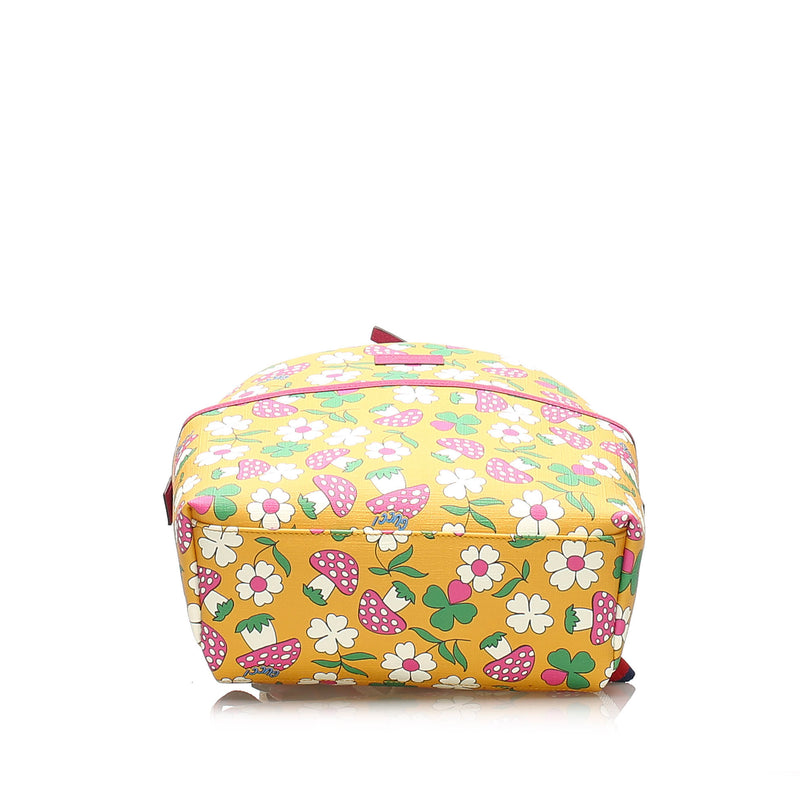 Childrens Mushroom Print Coated Canvas Backpack Yellow - Bag Religion