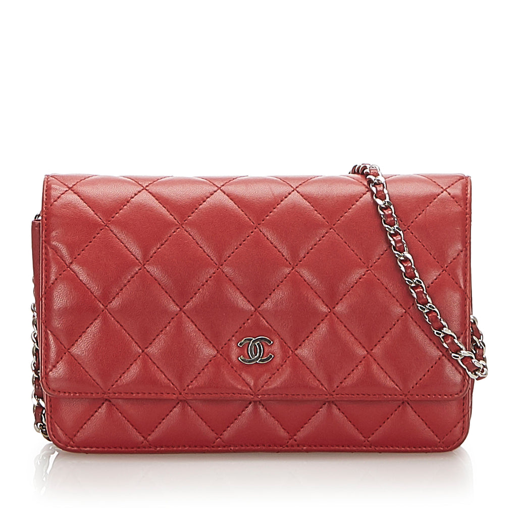 CC Timeless Lambskin Leather Wallet On Chain Red - Bag Religion