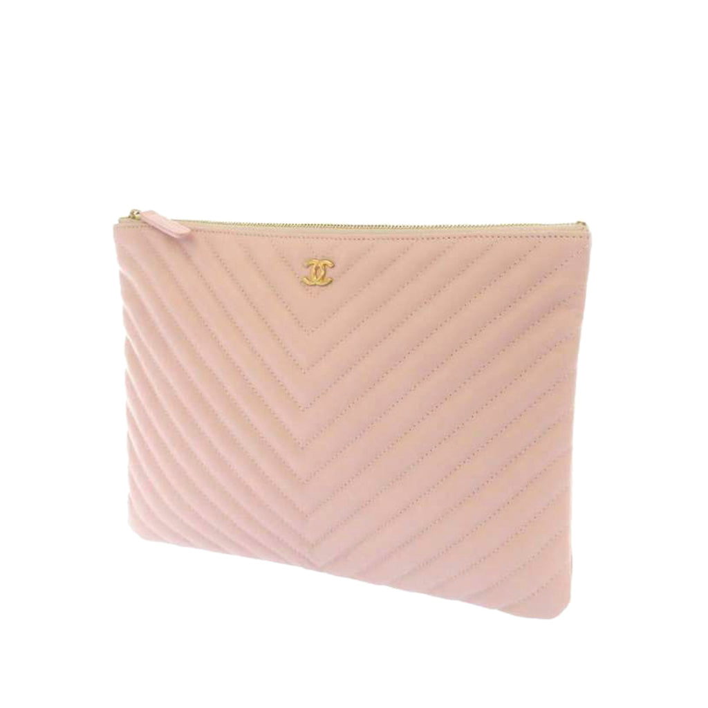 Chevron Leather Clutch Bag Pink - Bag Religion