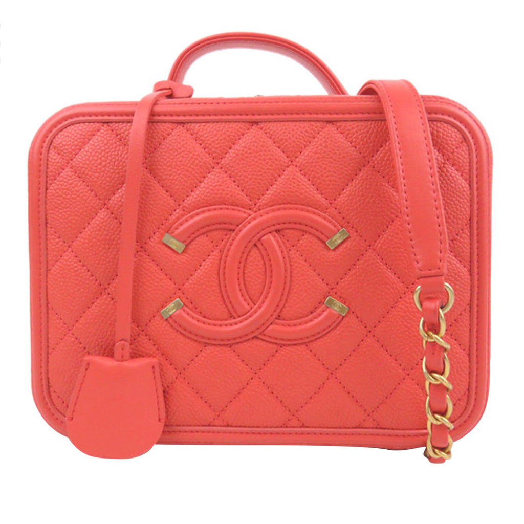 Red Caviar Leather CC Filigree Vanity Case