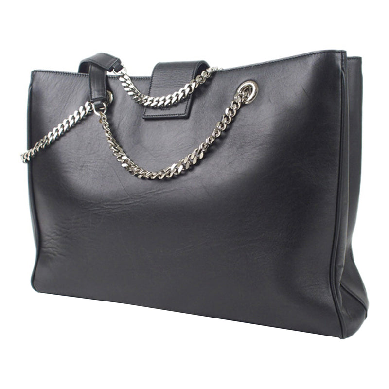 Black Cassandre Shopping Leather Tote Bag