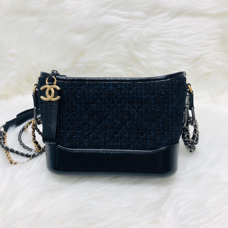 Black and Navy Blue Quilted Tweed Small Gabrielle Hobo Bag