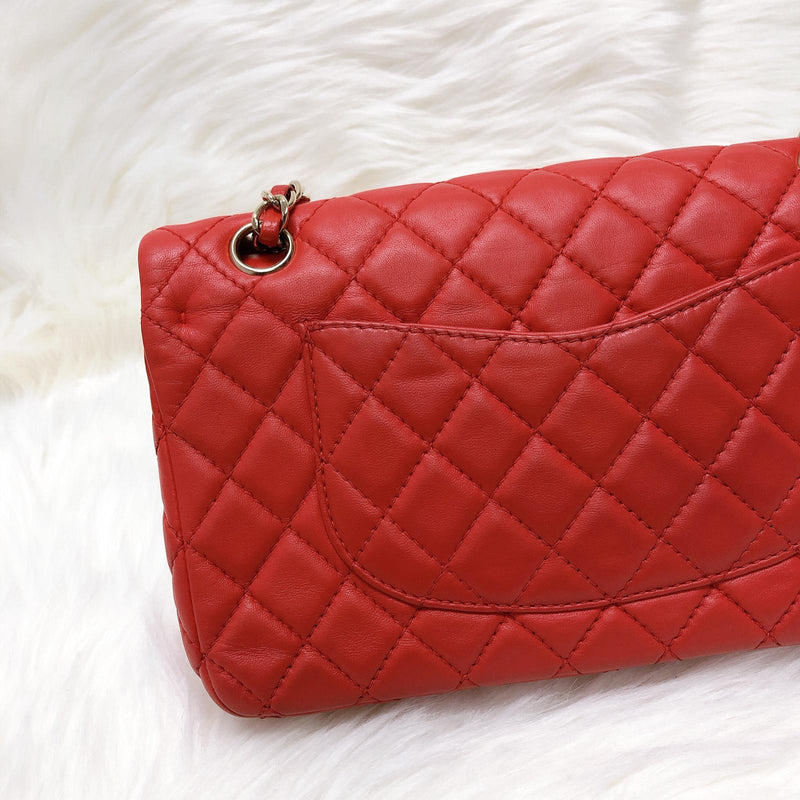 Timeless Classic Calfskin Double Flap Red Bag